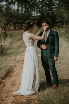 Tender first look moment captured by Maria Newman Photography