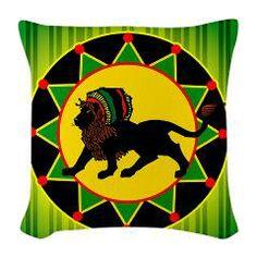 Jah King! Burlap Throw Pillow > Throw Pillows > Custom Design Store