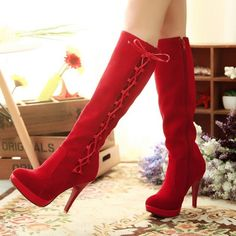 Aliexpress.com : Buy 2013 new hot ladies boots, fashion sexy knee boots ,casual boots size,womens red black shoes from Reliable knee boots shoes suppliers on Vogue shoes $75.80