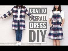 DIY Plaid COAT TO OVERALL DRESS DIY - Life is Beautiful
