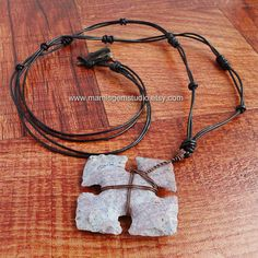 Long Leather Necklace for Men 29in, Hand Knapped Jasper Stone Ninja Throwing Star, Cross, Tribal Men's Jewelry