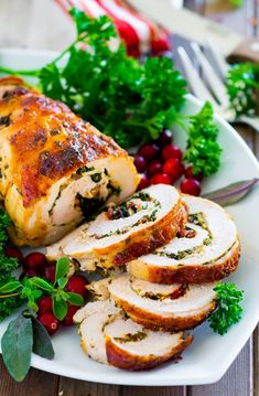 Moist and bold-flavor Stuffed Turkey Breast with Tuscan kale and cheese stuffing. This turkey roast is easy to put together, and makes gorgeous festive presentation on holiday dinner table. Herb Roasted Turkey, Baked Turkey, Moist Turkey, Turkey Breast Recipe Healthy, Roast Turkey Recipes, Stuffing Recipes, Thanksgiving Dinner Recipes, Thanksgiving 2020, Food Dishes