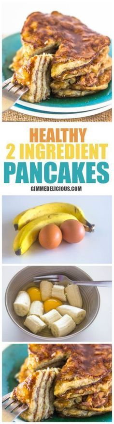 Check out Healthy 2 Ingredient Pancakes (Paleo, Gluten & Dairy-Free, No Sugar added)
