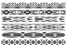 Vector collection of 6 borders with black and white native american patterns. I hope you like this free vector set.
