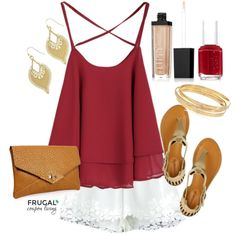 Frugal Fashion Friday Garnet Blouse with Lace Shorts Outfit - Polyvore Outfit of the Day on Frugal Coupon Living.