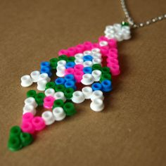 Pixel Tribal Inspired Hama Bead Necklace by RetroidStudio on Etsy