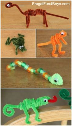 Craft for Kids: Pipe Cleaner Animals Pipe Cleaner Animals Craft for Kids- perfect rainy/snowy day activity with minimal supplies for maximum fun!Pipe Cleaner Animals Craft for Kids- perfect rainy/snowy day activity with minimal supplies for maximum fun! Animal Crafts For Kids, Easy Crafts For Kids, Craft Activities For Kids, Toddler Crafts, Crafts To Do, Diy For Kids, Decor Crafts, Kids Animals, Elderly Activities