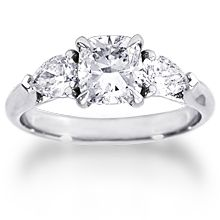 This stunning custom engagement ring featues a center cushion-cut diamond with approx. pear-shaped diamonds on the side. All custom rings are created around the stone of your choice and priced individually. Pear Shaped Engagement Rings, Diamond Engagement Rings, Pear Shapes, Thing 1, Custom Cushions, Cushion Cut Diamonds, Pear Shaped Diamond, Wedding Ideas, Stone