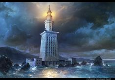 "Faro de Alejandria -- This is Lighthouse of Alexandria. I've done it for the ""grepolis"" from ""InnoGames"". Ancient Rome, Ancient Art, Fantasy World, Fantasy Art, Egypt Tourism, Great Pyramid Of Giza, Alexandria Egypt, Concept Art World, Arquitetura"