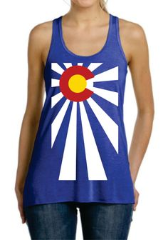 Colorado Flag Rising Sun RacerBack Ladies FLowy Tank Top  Workout Gym Running Fitness Yoga Exercise Souvenir  Unique Gift by SuperTeesandHats on Etsy