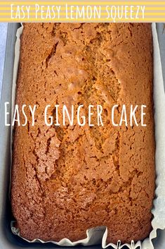 Sponge Cake Recipes, Easy Cake Recipes, Sweet Recipes, Baking Recipes, Dessert Recipes, Ginger Loaf Cake, Gingerbread Cake, Cake Toppings, Homemade Cakes