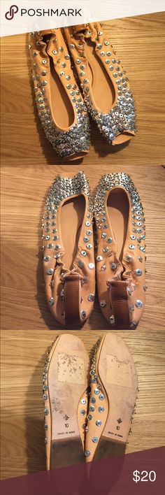 Anthropologie Sequin Peep Toe Ballet Flats Shoes Beautiful statement pair of Anthropologie Miss Albright ballet peep toe flats • Nude color with silver sequins • In great condition minus a few places that are missing sequins (see photos) worn like 3 times other than that • size 10 Anthropologie Shoes Flats & Loafers