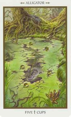 5 de coupes (Alligator) - Tarot animaux divins par Lisa Hunt