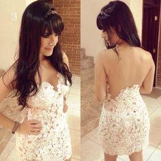 Sexy Sleeveless Lace Mesh Spliced Women Fashion Lace Slim Fit Prom Mini Dress on Luulla