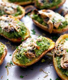 Sauteed Mushroom Gouda and Kale Potato Skins