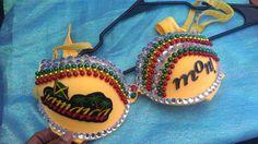 Rhinestone and beaded Jamaican bras Yellow 34B by Smokinghotdivas, $40.00