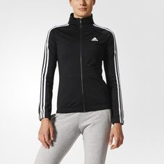Stay a step ahead of the changing weather in this women's track jacket. Made with smooth recycled tricot, the full-zip jacket has an elasticized hem for a snug fit that helps keep the chill out. Contrast 3-Stripes down the sleeves add an athletic-inspired touch.