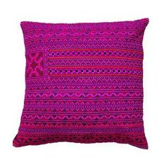Handsewn Hill Tribe Pink Pillow Cover