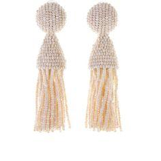 Oscar de la Renta Ivory Classic Short Tassel Earrings ($345) ❤ liked on Polyvore featuring jewelry, earrings, nickel free jewelry, long clip earrings, polka dot earrings, long beaded earrings and long clip on earrings