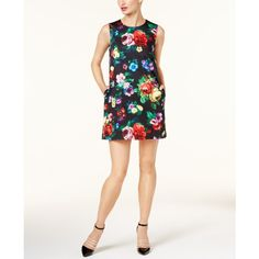Love Moschino Floral-Print Shift Dress ($325) ❤ liked on Polyvore featuring dresses, multi, mini shift dress, floral dresses, short white dresses, white mini dress and white floral dress