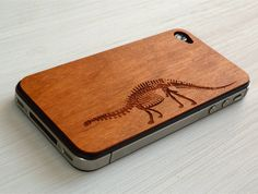 Brontosaurus Etching on Real Wood iPhone Skin Cover. $20.00, via Etsy.