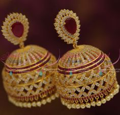 J7622 Big Mega Size Heavy CZ Gold Plated Ruby Jhumka Earrings Online Latest