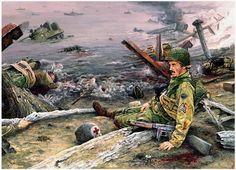 Art illustration - World War II Military Diorama, Military Art, Military History, Panzer Ii, Diorama Militar, Arte Zombie, Omaha Beach, Army Drawing, D Day Normandy