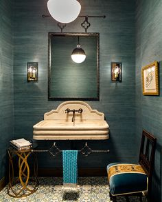 Designer Kim Scodro featured Juicy Jute Grasscloth 4819 Tantalizing Teal in the powder room of a client's home. Teal Grasscloth Wallpaper, Bathroom Wallpaper, Powder Room Wallpaper, Blue Mosaic Tile, Dining Room Blue, Powder Room Paint, Blue Powder Rooms, Powder Room Decor, Concrete Floor