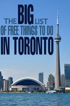 The BIG List of Free Things to do in Toronto, Ontario, Canada. Banff, Ontario Travel, Toronto Travel, Toronto Vacation, Trip To Toronto, Visit Toronto, Toronto Ontario Canada, Montreal Canada, Vacation Ideas