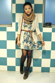 Would be really cute with boots, and love the infinity scarves :)