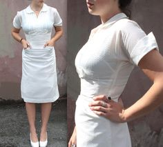Vintage 1950's Dress // 40s 50s White Uniform // Nurse Waitress Workwear // Pin…