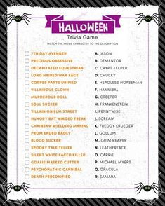 FREE Halloween Trivia Print - just match the movie character to the description - perfect for parties! Halloween Facts, Halloween Party Games, Halloween Movies, Halloween Activities, Scary Halloween, Halloween Ideas, Halloween Stuff, Halloween Games For Adults, Halloween Worksheets