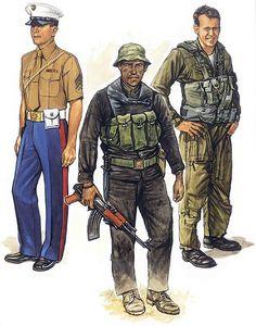 • USMC Embassy Guard; Saigon, 1973 • USMC advisor; MACV-SOG, 1971 • USMC helicopter flight gear; Tonkin Gulf, 1972