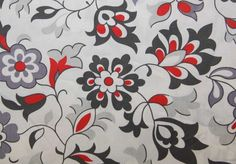 """Red and Gray Floral Print Fabric - From Fabric Finders - 30"""" Yard Listing - 58 Inches Wide. $7.75, via Etsy."""
