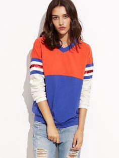 Sweat-shirt color-block col V avec sequins-French SheIn(Sheinside)