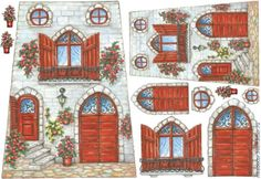 Rice Paper for Decoupage Decopatch Scrapbook Craft Sheet Red Door with Flowers Paper Toys, Paper Crafts, Rice Paper Decoupage, Decoupage Printables, Fairy Doors, Paper Houses, Stained Glass Patterns, Vintage Crafts, Windows