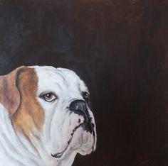 bulldog in acryl geschilderd door leny tournois