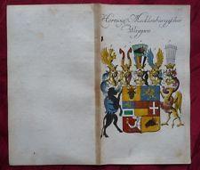 WAPPEN VOM HERZOGTUM MECKLENBURG MIT STAMMTAFEL KUPFERSTICH WEIGEL KÖHLER 1736