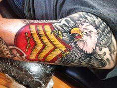 Marine corps tattoos via FB Patriotische Tattoos, Army Tattoos, Military Tattoos, Body Art Tattoos, Sleeve Tattoos, Cool Tattoos, Tatoos, Tatoo Henna, Tatoo Art