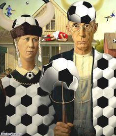 American Gothic Soccer Painting