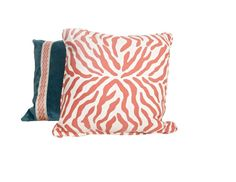 """This orange and cream zebra 20"""" x 20"""" pillow cover is handmade in designer fabric with a beautiful addition of an interlocking design on the border."""