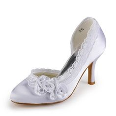 hochzeitsschuhe herbst Satin Stiletto Heel Closed Toe With Satin Flower Wedding / Party Evening Shoes (More Colors Available) Cute Wedding Dress, Fall Wedding Dresses, Colored Wedding Dresses, Lace Wedding, Holiday Dresses, Party Dresses, Wedding Gowns, Dream Wedding, Lace Heels