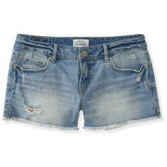 Aeropostale Destroyed Light Wash Denim Shorty Shorts ($15) ❤ liked on Polyvore featuring shorts, bottoms, pants, short, light wash, denim shorts, ripped shorts, distressed denim shorts, slim shorts and destroyed shorts