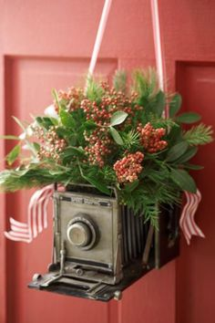Holiday/Christmas decor made from a vintage and antique camera