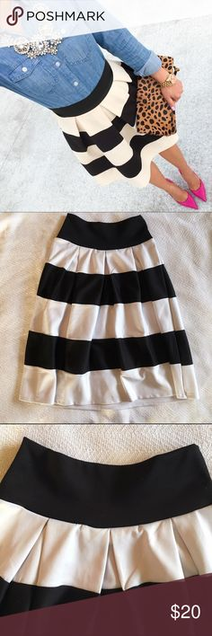"""Black & White Striped Skirt • 95% Polyester • 5% Spandex • Oh my goodness this skirt is so cute. It has been worn quite a bit BUT it is still in very good condition. Waistband: 25"""" Length: 25"""" Céline Skirts"""