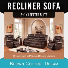 Recliner New Lounge Brown Leather Smart Ultra Cushioned Stylish Dream in Home & Garden, Furniture, Sofas & Couches Cheap Sofa Sets, Sofa Bed Brown, Leather Sofa Bed, Modern Recliner, Reclining Sofa, Fabric Sofa, Brown Leather, Dining Chairs, New Homes