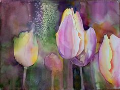 Tulips in Bloom - This was a fun watercolor to paint. I wanted it to read as tulips, but not look too crisp and tight. Tulips Art, Colorful Art, Art Painting, Watercolor Tulips, Floral Art, Painting, Art, Watercolor Negative Painting, Floral Watercolor
