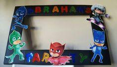 Party Photo both frame inspired by Pj masks by PinatasUSA on Etsy Third Birthday, 4th Birthday Parties, Boy Birthday, Birthday Ideas, Decoracion Pj Mask, Pjmask Party, Party Ideas, Party Photo Frame, Photo Props
