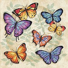 Shop for Butterfly Profusion Counted Cross Stitch Kit. Get free delivery On EVERYTHING* Overstock - Your Online Sewing & Needlework Shop! Crewel Embroidery, Cross Stitch Embroidery, Cross Stitch Patterns, Cross Stitches, Butterfly Cross Stitch, Butterfly Art, Butterfly Pillow, Vintage Butterfly, Needlework Shops