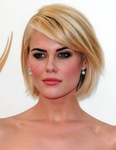 Blonde Bob Hairstyles with Side Swept Bangs